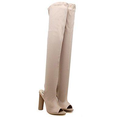 RTRY Scarpe Da Donna In Pelle Nubuck Autunno Inverno Comfort Novità Moda Stivali Stivali Chunky Heel Peep Toe Thigh-High Scarponi Per Office &Amp; Carriera US7.5 / EU38 / UK5.5 / CN38