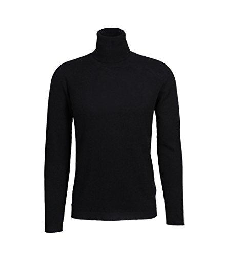 Black Cashmere Turtleneck Pullover (GRETA & LUIS Herren Rollkragenpullover in Schwarz 09 Black 48)