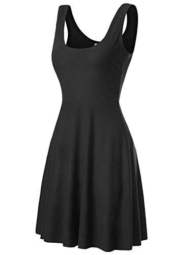 DJT Damen Vintage Sommerkleid Traeger mit Flatterndem Rock Blumenmuster Schwarz-2 XL Kurzes Kleid Vintage Rock