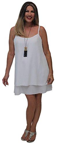 Lotustraders -  Vestito  - linea ad a - Basic - Senza maniche  - Donna White
