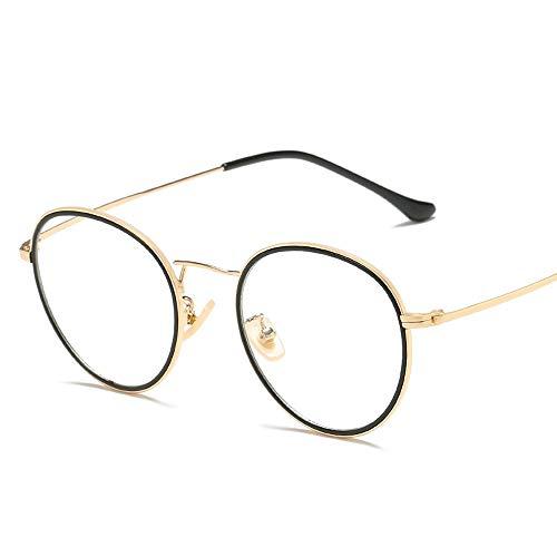 Easy Go Shopping Vintage Retro Fashion Eyewaer Für Männer Frauen Unisex Spectaclesn Brillen Rahmen Klare Linse Plain Gläser Sonnenbrillen und Flacher Spiegel (Color : 02 schwarz, Size : Kostenlos)
