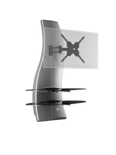 Meliconi ghost design 2000 rotation parete attrezzata con supporto tv, doppio braccio orientabile, mensole in vetro temperato, per tv da 32