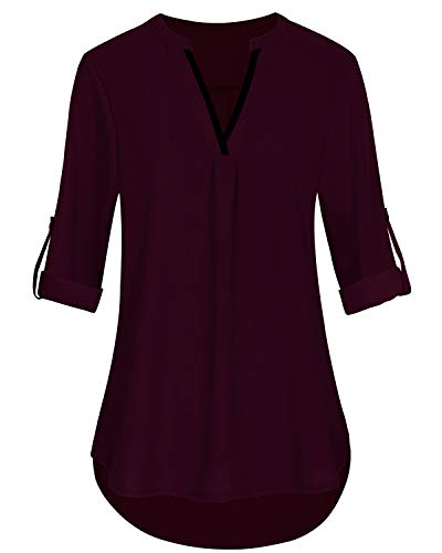Flattern Ärmel Bluse (SOLERSUN 3/4 Ärmel Chiffon Blusen für Frauen, Damen Chiffon Office Shirts Cuffed Quarter Sleeve Tunika Top Wein Rot S)