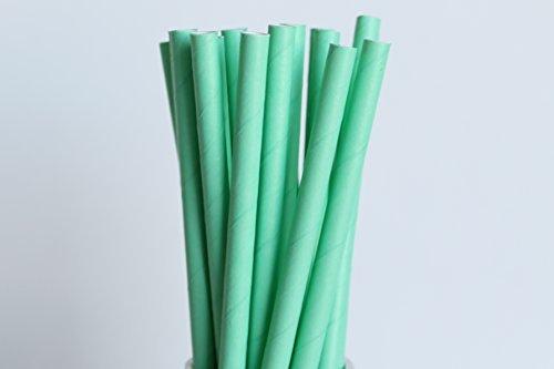 Vert menthe pailles en papier