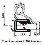 Grande guarnizione in gomma per porta, ampio range di serraggio. Altezza 24,2 mm. Range serraggio 6,9 mm - 9 mm, altezza range a U 18,5 mm