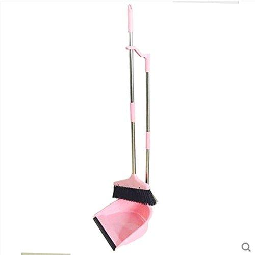 Edelstahl ummantelte Plastik weiche Pelz Besen und Dustpan Anzug Reinigungszubehör, rosa Absatz (Edelstahl)