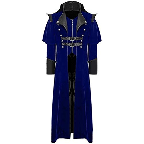 AmyGline Steampunk Herren Mantel Frack Jacke Gothic Gehrock Stehkragen Smoking Uniform Kostüm Party Outwear Lange Parka Party Cosplay Kostüm -
