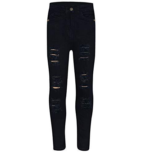 A2Z 4 Kids Kinder Mädchen Dünn Jeans Designer Denim - Girls Jeans JN28 Jet Black 11-12