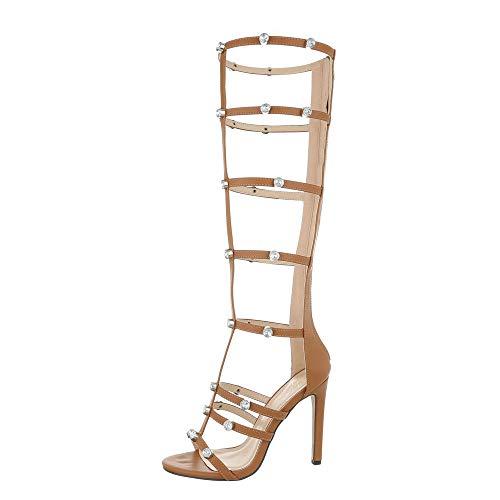 Camel High Heels (Ital-Design Damenschuhe Sandalen & Sandaletten High Heel Sandaletten Synthetik Camel Gr. 36)