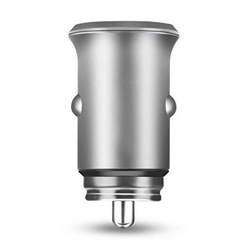 Mastererin Mini Dual USB Interface Vehicle Auto Car Charger LED Indicator Light Aluminum Charging Adapter Universal Phone