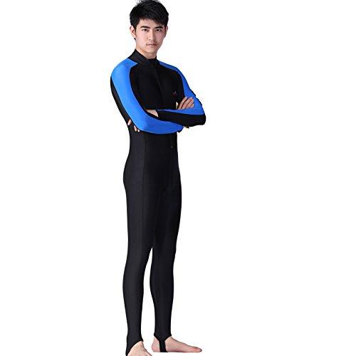 HYSENM Herren/Damen Tauchanzug Nassanzug Skins Badeanzug Lycra langarm UPF 50+ einteilig, Herren-Blau L
