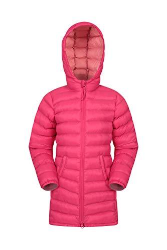 Mountain Warehouse Florence Lange, gefütterte Kinder-Jacke - leichte Winterjacke, isolierter Mantel, weich, warm, mit Kapuze - Winterbekleidung für Reisen und Outdoor Rosa 116 (5-6 Jahre)