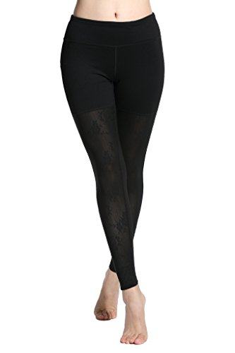 Lotus Instyle Sports Hose Yoga Leggings mit Spitzenmuster fuer Damen Front Lace