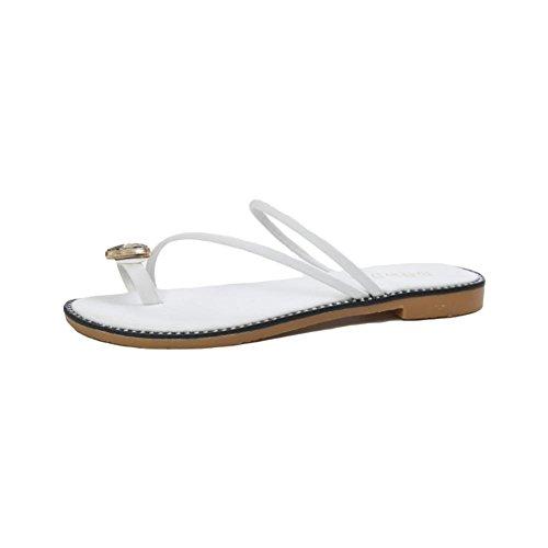 Pantofole set di piedi strass morbido fondo morbido sandali piatti scarpe da spiaggia casual White