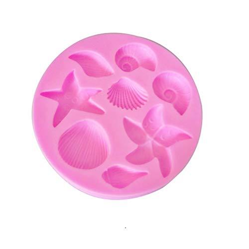 Hosaire 1x Molde de La Torta de Concha Marina Estrella de mar Silicona de Pastel de Seguridad para Hornear Pan Hogar DIY Herramienta para Hornear Size 8.3 * 8.3 * 1.0 CM