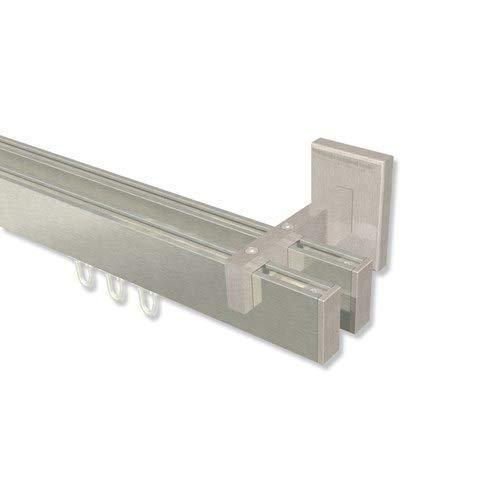 INTERDECO eckige Innenlauf Gardinenstangen Edelstahl Optik 2-läufig Smartline Paxo, 240 cm
