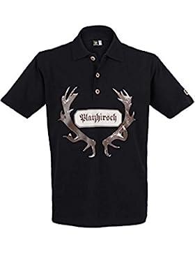 OS Trachten Herren Poloshirt 'Platzhirsch' schwarz Oliver, schwarz,