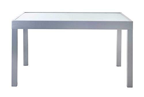 Ausziehtisch Gartentisch Terrassentisch | 135×90 cm | Grau | Aluminium | Glas | Ausziehbar