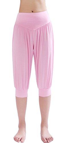 HOEREV Frauen-Super Soft Modal Spandex Harem Yoga Pilates Capri Hose (Soft-capris Rosa)
