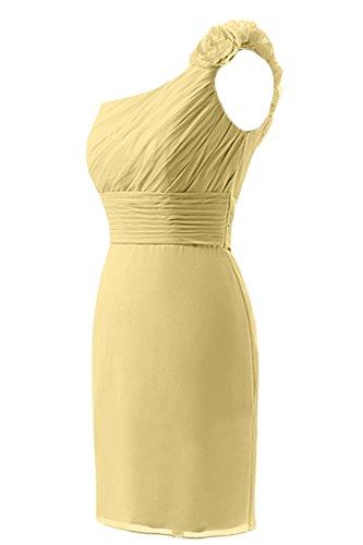 Sunvary Fodero in Chiffon Una spalla Abito corto da Cocktail Prom Homecoming Yellow