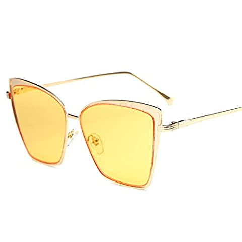 Wkaijc Retro Trendy Fashion Men And Women Sunglasses Cat's Eye Metal Square Big Box Sunglasses ,C