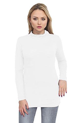 XubiDubi® Polo - Tunique - Uni - Femme Blanc