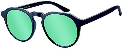 La Optica B.L.M. UV400 CAT 3 Unisex Damen Herren Sonnenbrille Rund Modern - Einzelpack Matt Schwarz (Gläser: Grün verspiegelt)