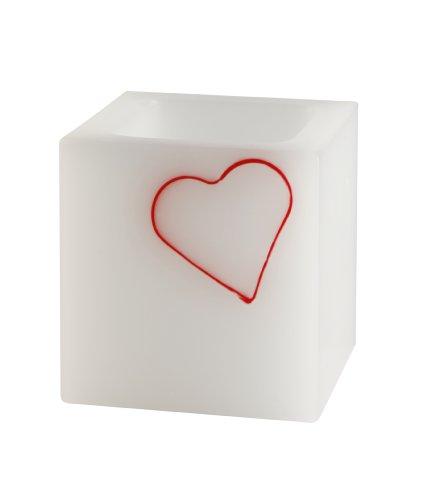 Cereria Ronca 4693Lampenschirm für Teelichter mit Dekor Herz aus Wachs - Lampenschirm Wachs