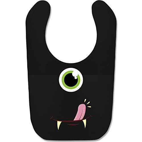 Shirtracer Karneval und Fasching Baby - Monster Gesicht Kostüm - Unisize - Schwarz - BZ12 - Baby Lätzchen (Die Schöne Und Das Biest Kostüme Für Jungen)