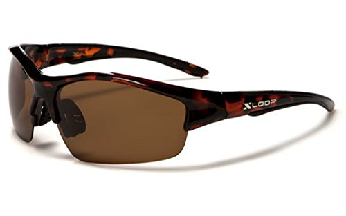 New XLoop AURORA Polarised Sport Wrap Unisex Sunglasses Adult Medium (tortishell frame brown lens)