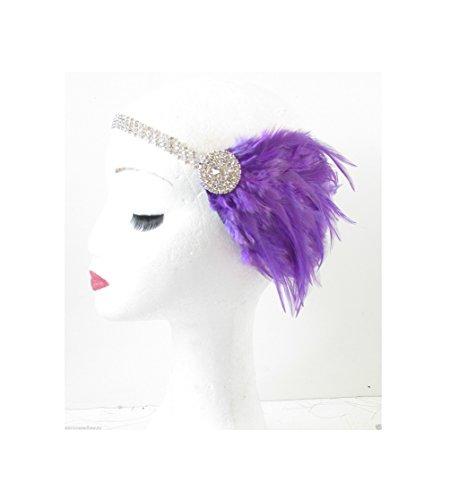 Starcrossed Beauty R70 Bibi avec plume et style vintage années 1920 Argent et violet