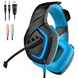 Headset Gaming , ONIKUMA Gaming Headset Kopfhörer mit Mikrofon LED Effekt für PC PS4 Film Gaming Spielen Chat Musik. [Windows] ... (Blue) -
