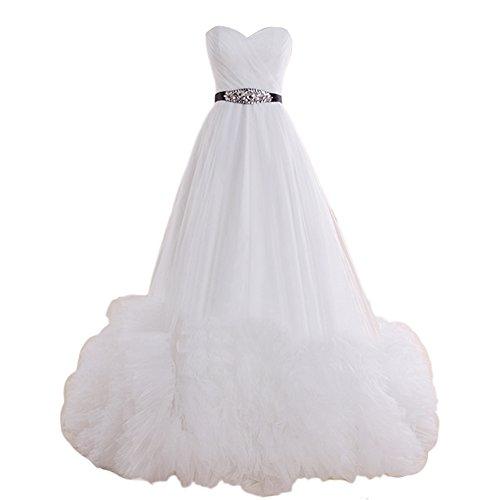Dresstells, Robe de mariée Robe de soirée Robe de cérémonie en tulle traîne asymétrique bustier en cœur Blanc