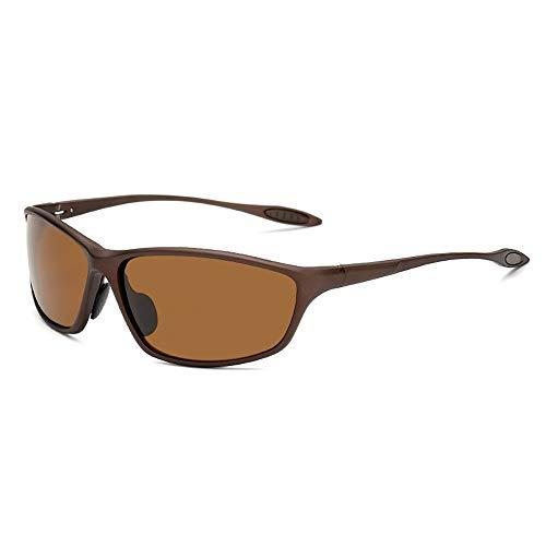 Hinyyee UV400-Schutz Polarisierte Sonnenbrille für Männer und Frauen Gespiegelt Al-Mg-Metallrahmen Sport im Freien Fahren Brille (Color : Braun, Size : Kostenlos)