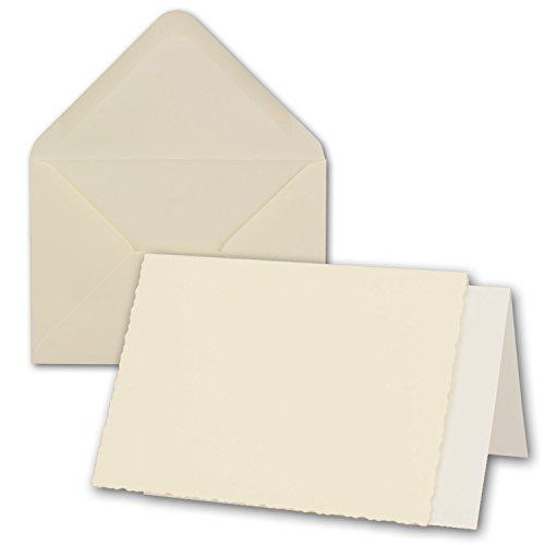 50x Creme-weißes DIN A6 Falt-Karten-Set mit Bütten-Rand-Schnitt & Brief-Umschlägen & Einlege-Blätter I 10,4 x 14,8 cm I Papier-Bastel-Set inklusive hochwertiger Box! I Gustav NEUSER®