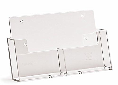 Taymar A6 Wand-Prospekthalter, Hochformat, mit 2 Fächern, transparent (Wand-dispenser)