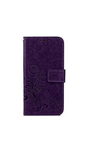 ELECTROPRIME® Clover Embossed Phone Shell Case Cover for Samsung S6 (Purple)