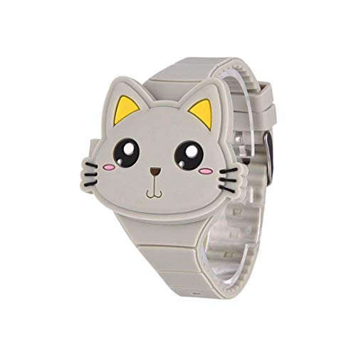 takestop® Reloj de Pulsera con Caja de Regalo Digital Silicona 3D Luminoso Relojes Animal Animales Niño niña Idea Regalo Cartón Animado Cartoon Gato