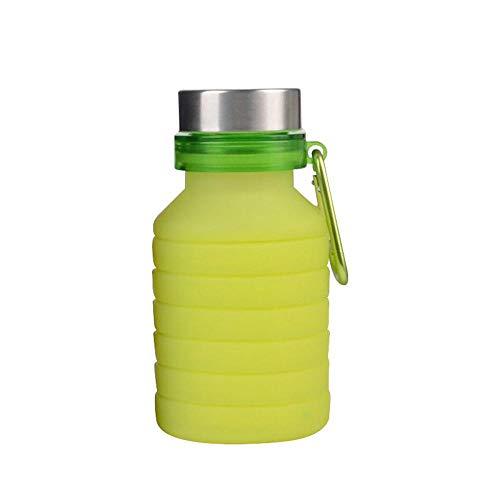 Aolvo Faltbare Wasserflasche, 550 ml, BPA-Freies Silikon, einziehbarer Becher, tragbar, Reisen, Camping, Wandern, Outdoor, 450 ml, grün