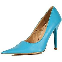 Damen-Pumps mit very spitz zulaufend and stöckelabsatz hoher absatz - Blau, 3 UK