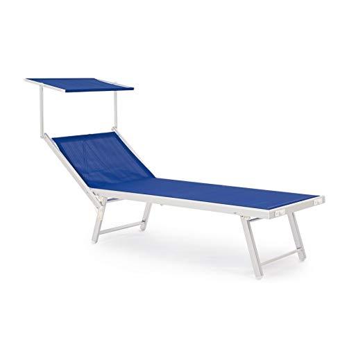 ARREDinITALY Lot de 2 Bains de Soleil avec Toit en Aluminium et textilène Bleu
