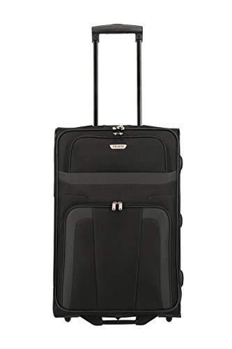 travelite ORLANDO Koffer, Reisetrolley 2-Rad M (63 cm), Schwarz; Rollkoffer mittlere Größe mit Außen- und Innentasche, mit Schloß