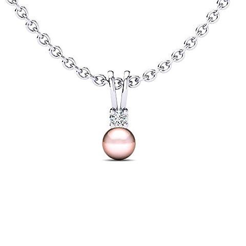 Moncoeur Diamant Halskette Léa aus 375 Weißgold, echtem Diamant und echter Perle im Luxusetui