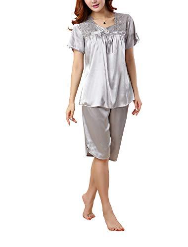2 Stück Zwei Stück Pyjama Set (Rojeam Frauen Sommer Silk Satin Pyjamas Kurzarm Nachtwäsche 2 Stück Pyjama Set Loungewear)