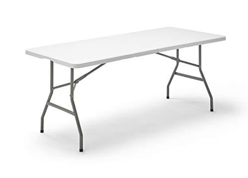 KitGarden - Mesa Plegable Multifuncional, 180x75x74cm, Blanco, Folding 180