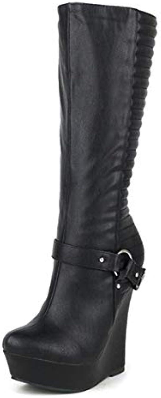 HY Stivali alla Moda da Donna, PU Artificiale Alto Fondo Autunno Inverno Stivali Alti, Cintura da Donna Fibbia...   Lussureggiante In Design    Scolaro/Ragazze Scarpa