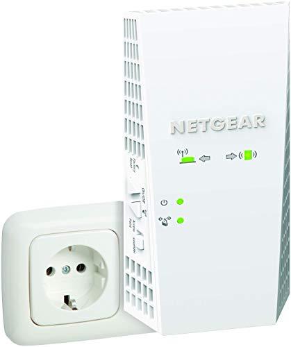 Netgear WLAN Mesh EX7300-100PES AC2200 Dual Band Wireless Signal-Verstärker & Booster (Abdeckung von 3 bis 4 Räumen & 35 Geräten, Geschwindigkeit bis zu 2200 MBit/s, smartes Mesh WLAN-Roaming) weiß Signal-repeater