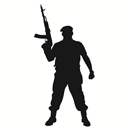Marine Corps Applique (Diy Wandaufkleber tapferer Soldat mit Pistole Silhouette Wandtattoo Vinyl Applique Marine Corps Militär Krieg Soldat Wandaufkleber Schlafzimmer Home Decor 43X87 cm)