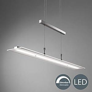 LED Pendelleuchte dimmbar inkl. 20W 1600lm LED Platine, Höhenverstellbar, 3000K warmweiß, IP20 Echtglas