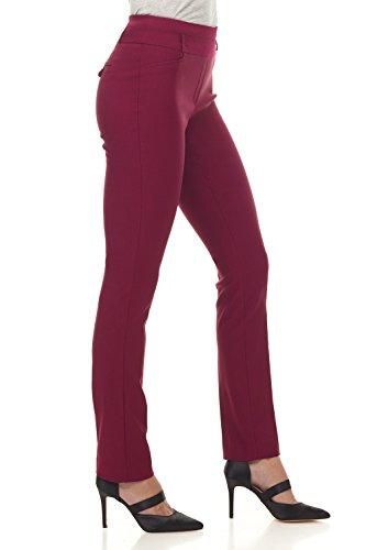 Pantaloni Rekucci Slim di grande conforto per donna Borgogna